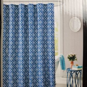 Fabric shower curtain with 12 metal hooks